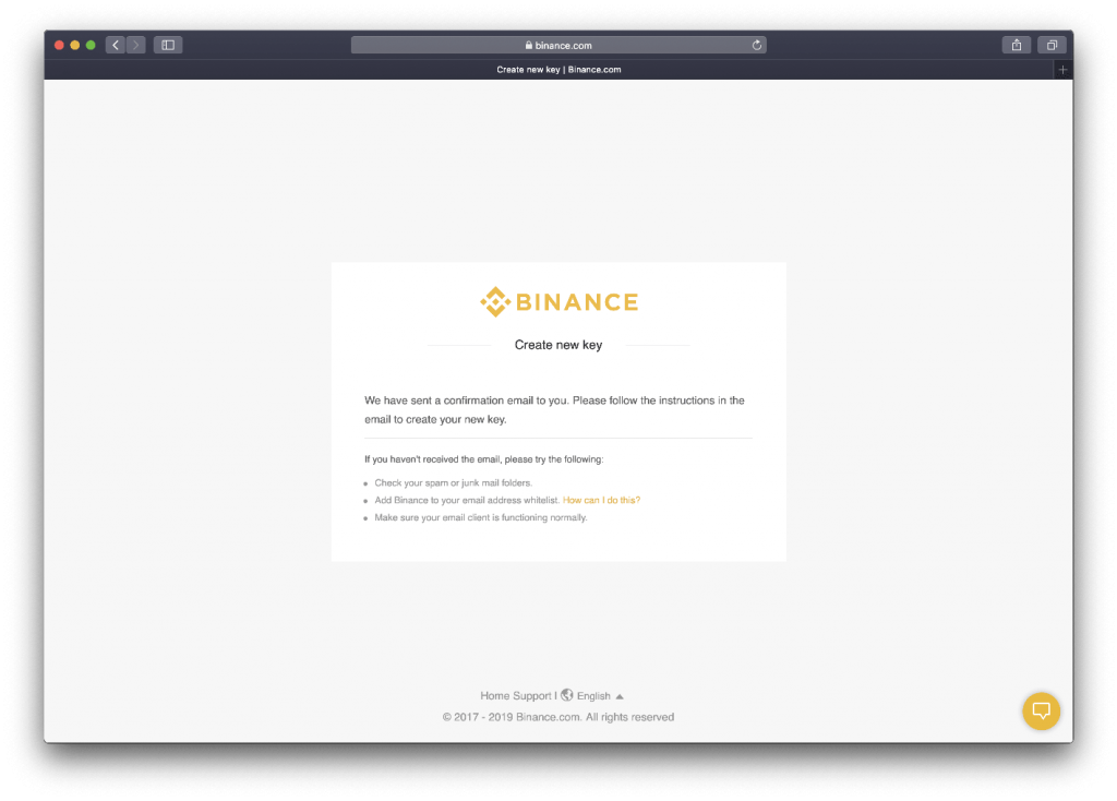 Message redirection from Binance informing you to check your email address.