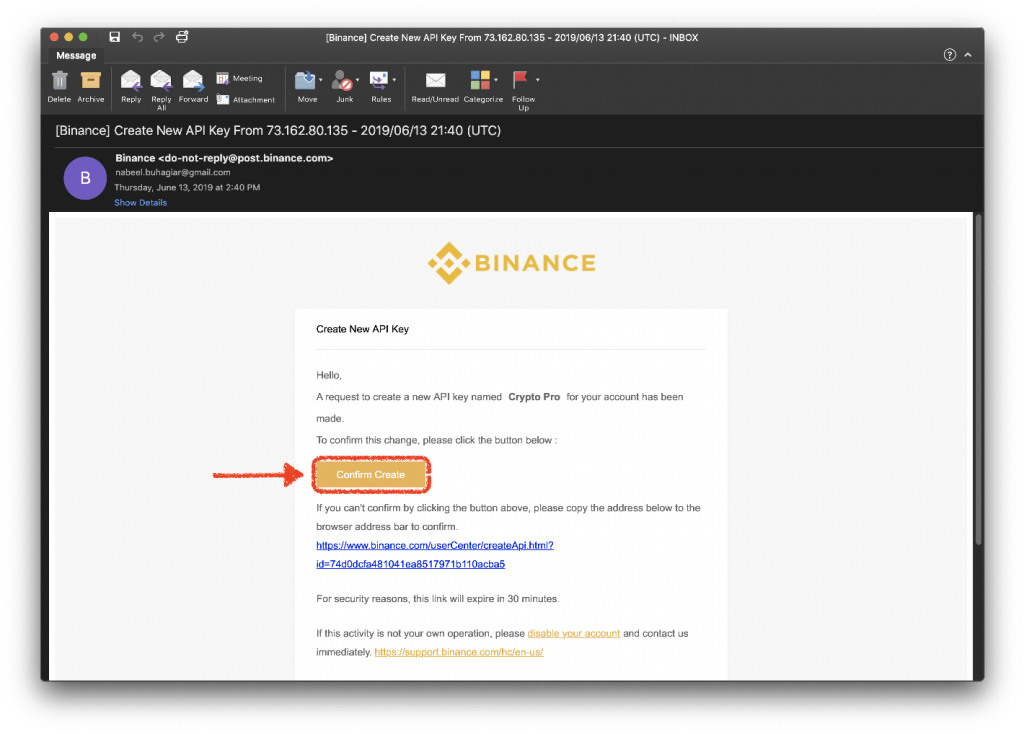 Binance confirming new API Key creation via email (highlighted in red)
