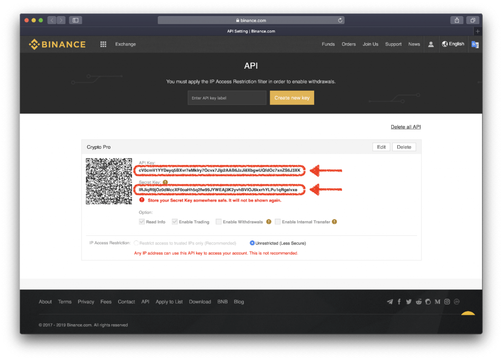 Binance's New API and Secret Key creation page (highlighted in red)