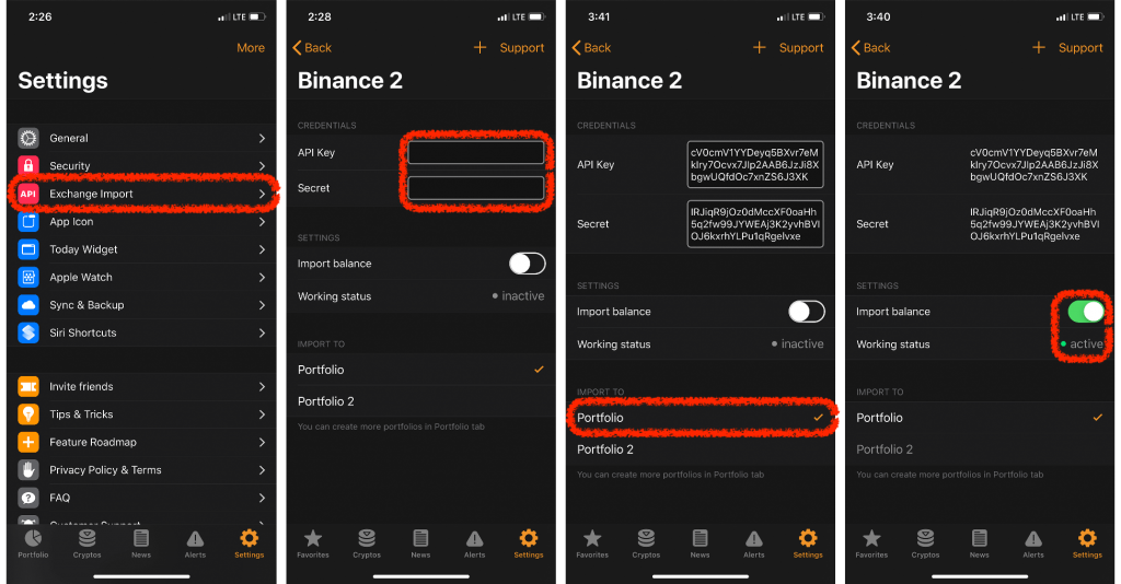 crypto pro app, settings page, instructions on adding a new exchange import via binance API Keys (highlighted in red)