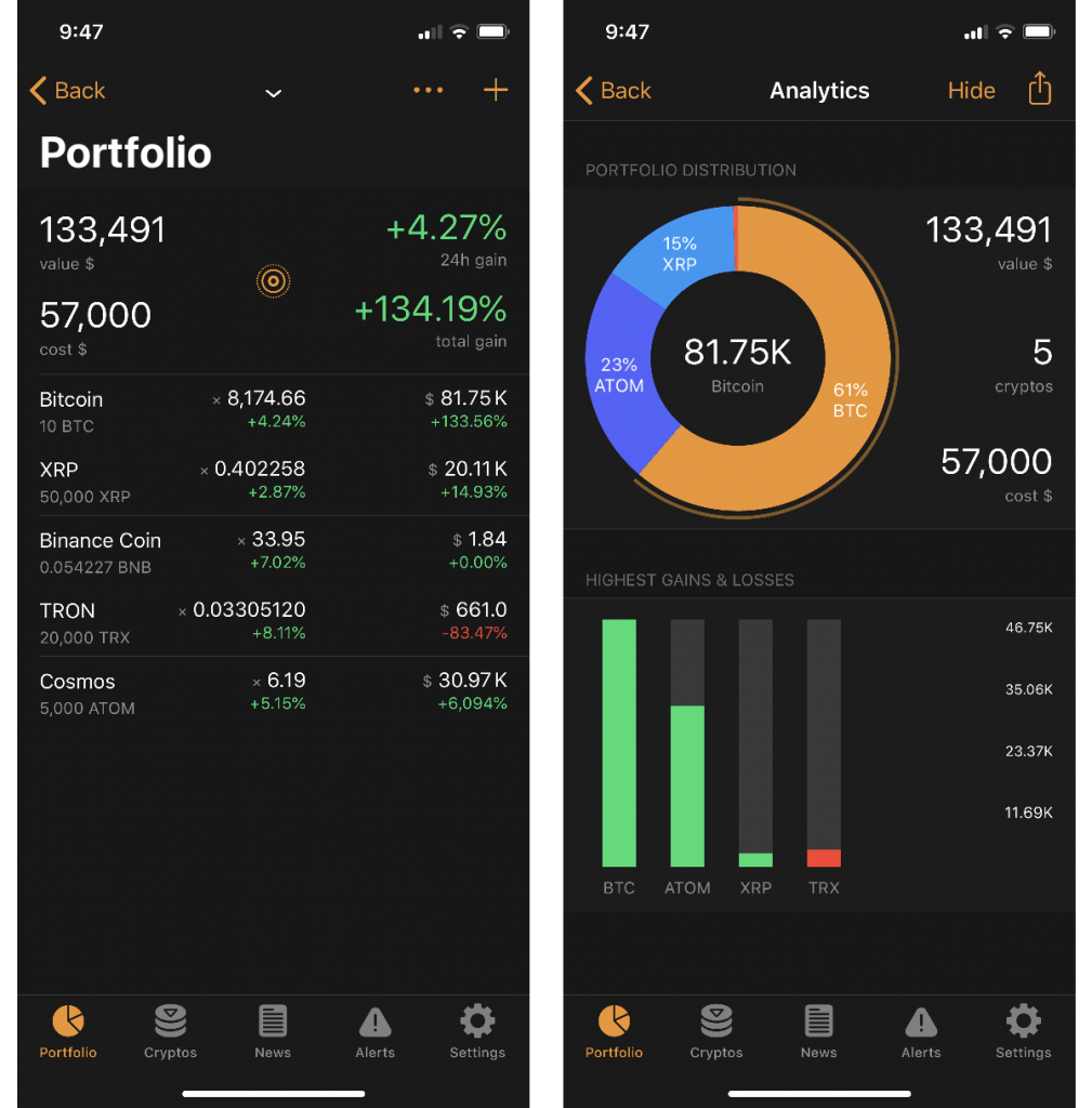 Crypto Pro app portfolio tab showing prices of Bitcoin, XRP, Binance Coin, Tron and Cosmos.