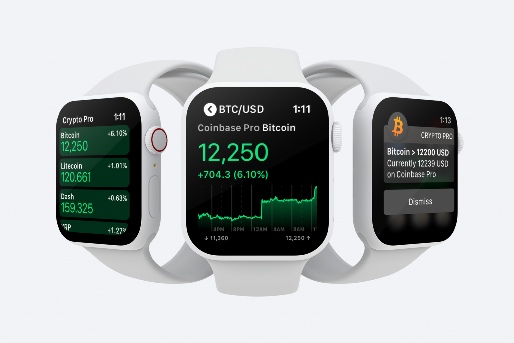 Three apple watches showing the price of Bitcoin, Litecoin and Dash on Crypto Pro's Apple Watch App.