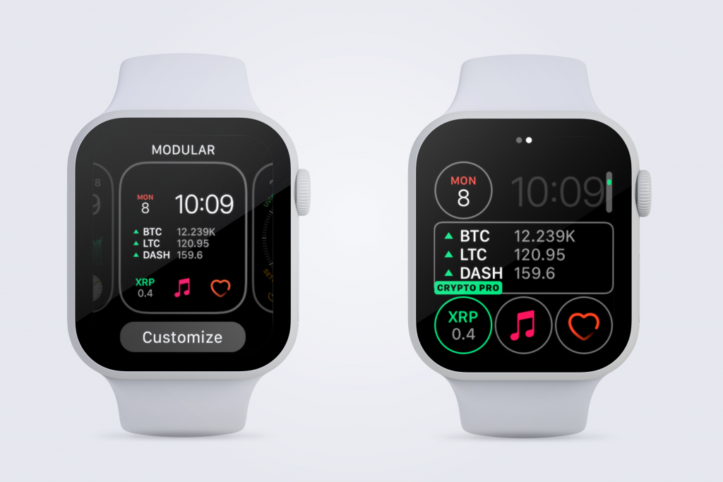 2 Apple Watches showing how to customize Crypto Pro complications to display cryptocurrency prices