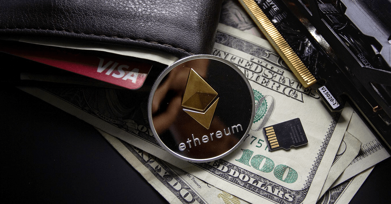 Showing a wallet next to cryptocurrency coin Ethereum