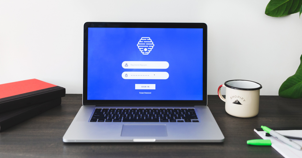 Macbook with a log in screen for a web cryptocurrency wallet.