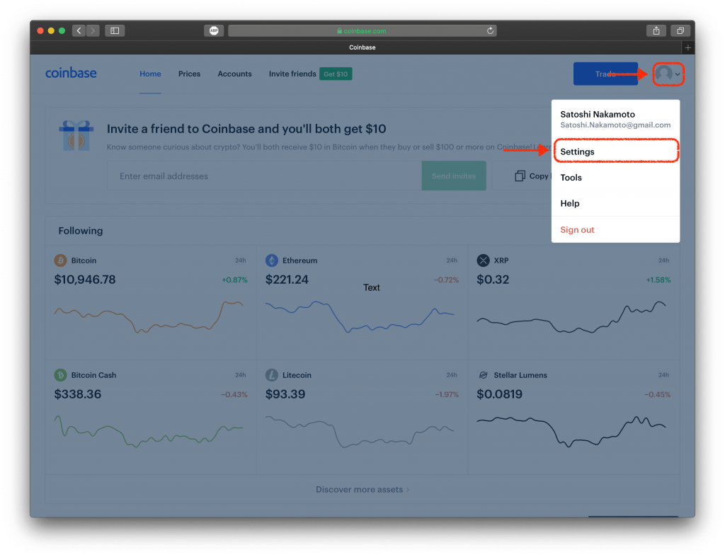 Screenshot of Coinbase's website, highlighting the Settings tab.