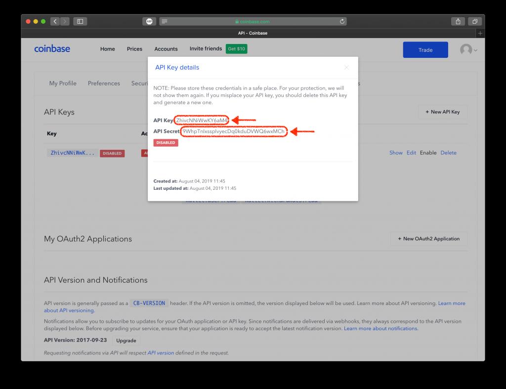 Screenshot showing Coinbase API Key and API Secret generated.