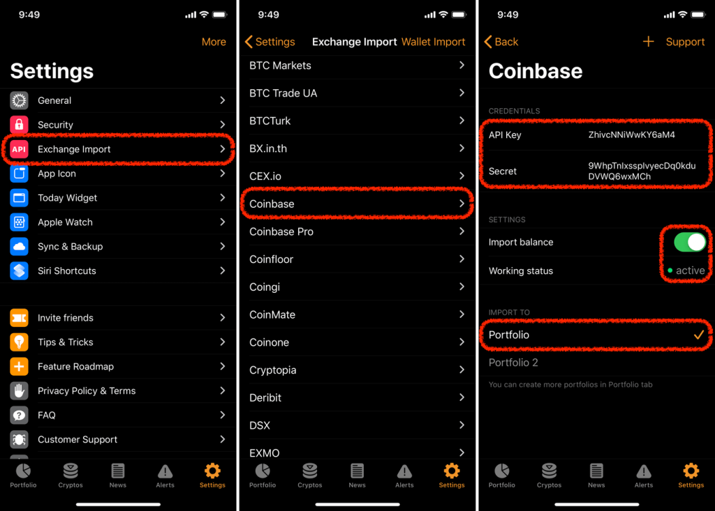"Screenshot of Crypto Pro app showing the ""Settings"" tab and ""Exchange Import"" feature."