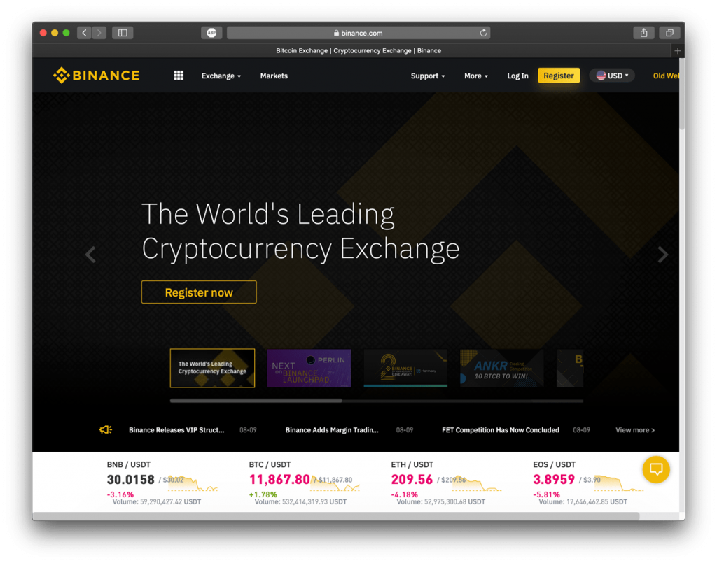 Screenshot of Binance exchange, showing their homepage.