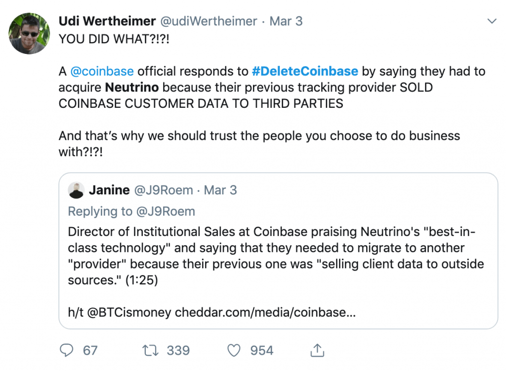 Tweet about #Deletecoinbase