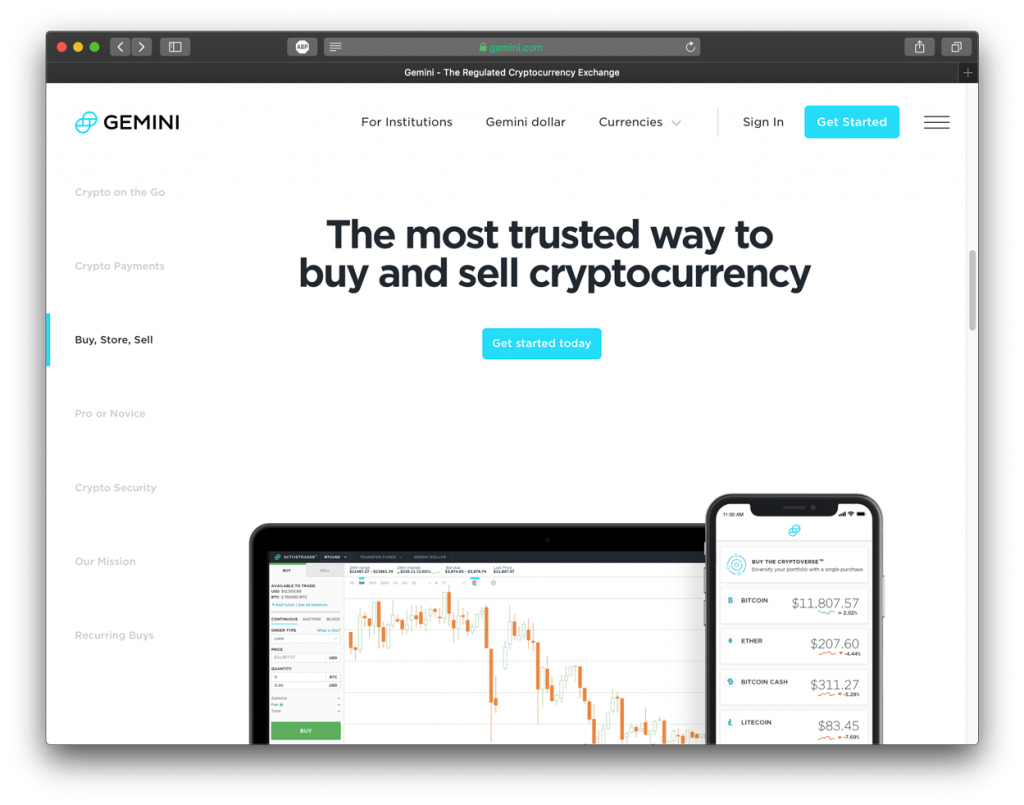 Screenshot of Gemini exchange, showing their homepage.