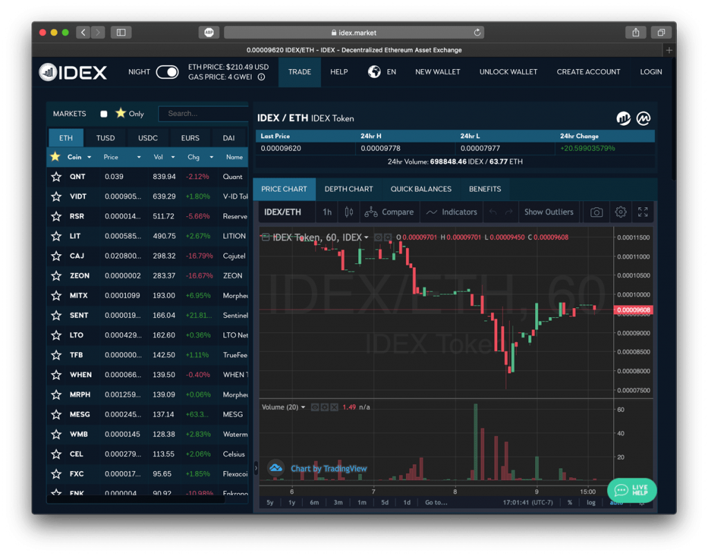 Screenshot of IDEX exchange showing their trading pairs, which is a DEX Coinbase alternative