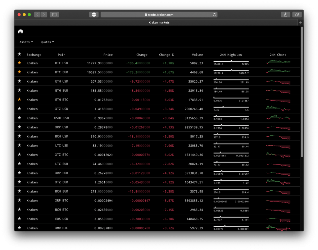 Screenshot of Kraken exchange, showing trading pairs.