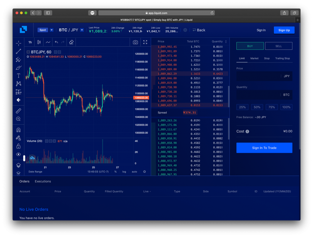 Screenshot of Liquid exchange, a top Coinbase alternative