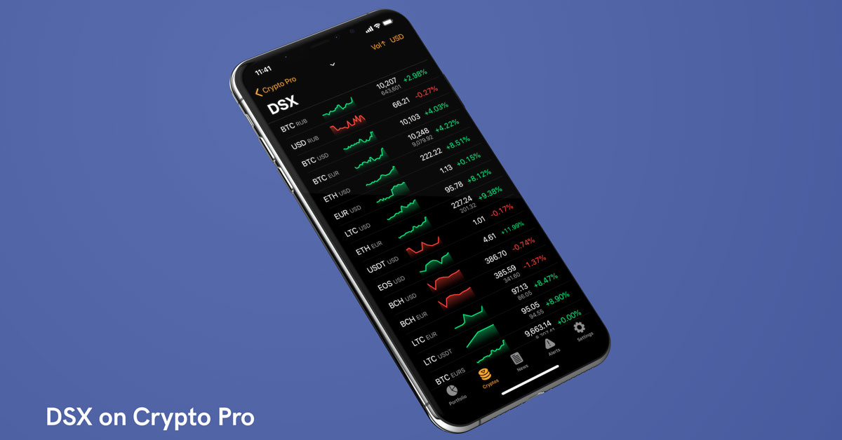 iPhone showing DSX exchange on Crypto Pro app
