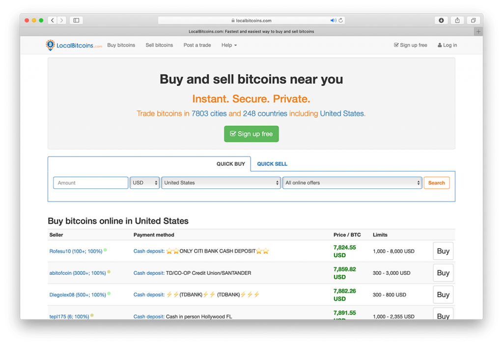Screenshot of Localbitcoin.com website.