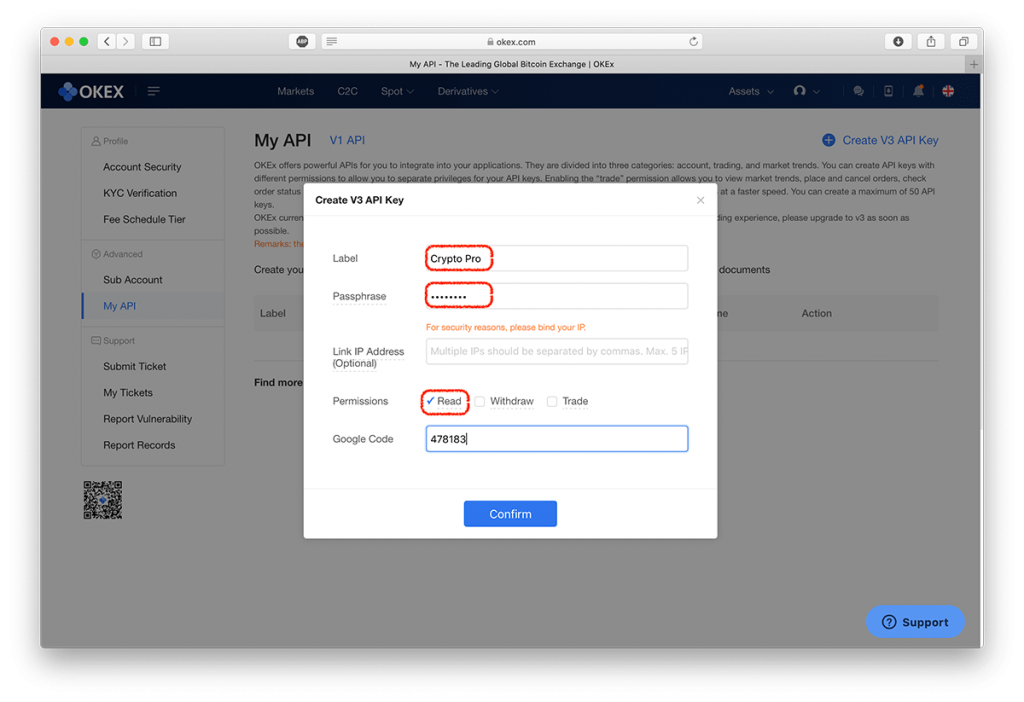 Screenshot showing OKEx API key settings and options
