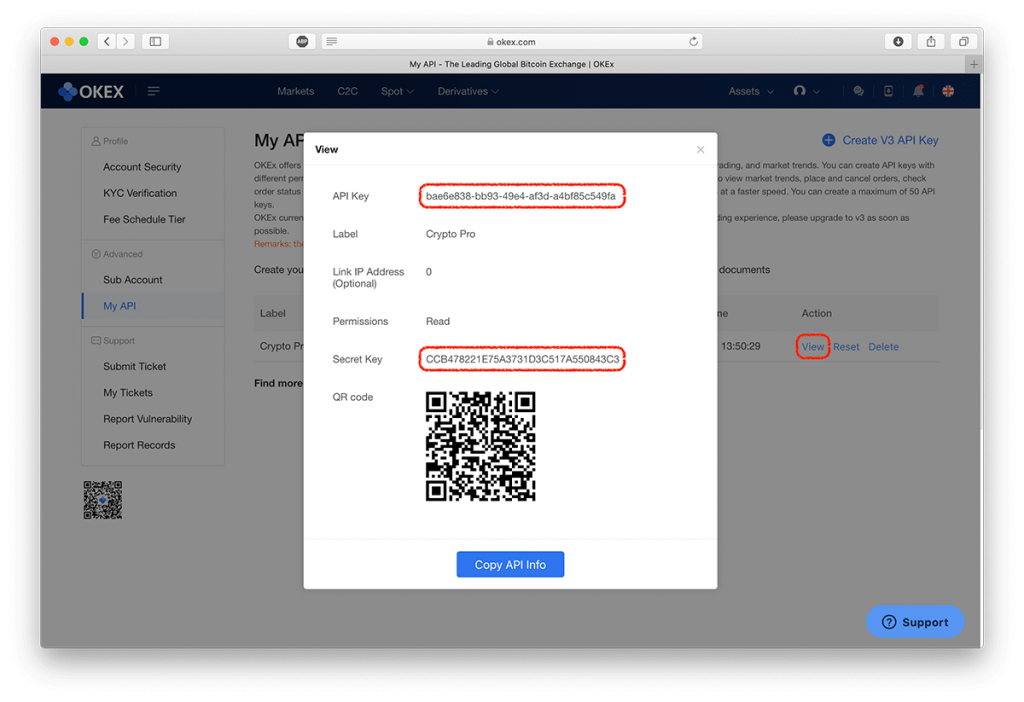 Screenshot of an OKEx API Key and Secret with Barcode