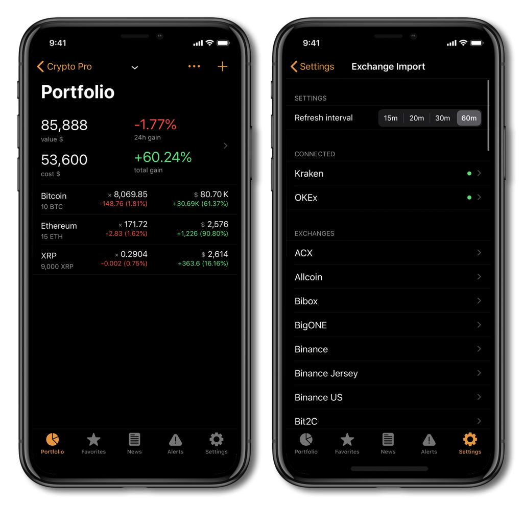 Screenshot of Crypto Pro, showing how to use the crypto portfolio tracking feature