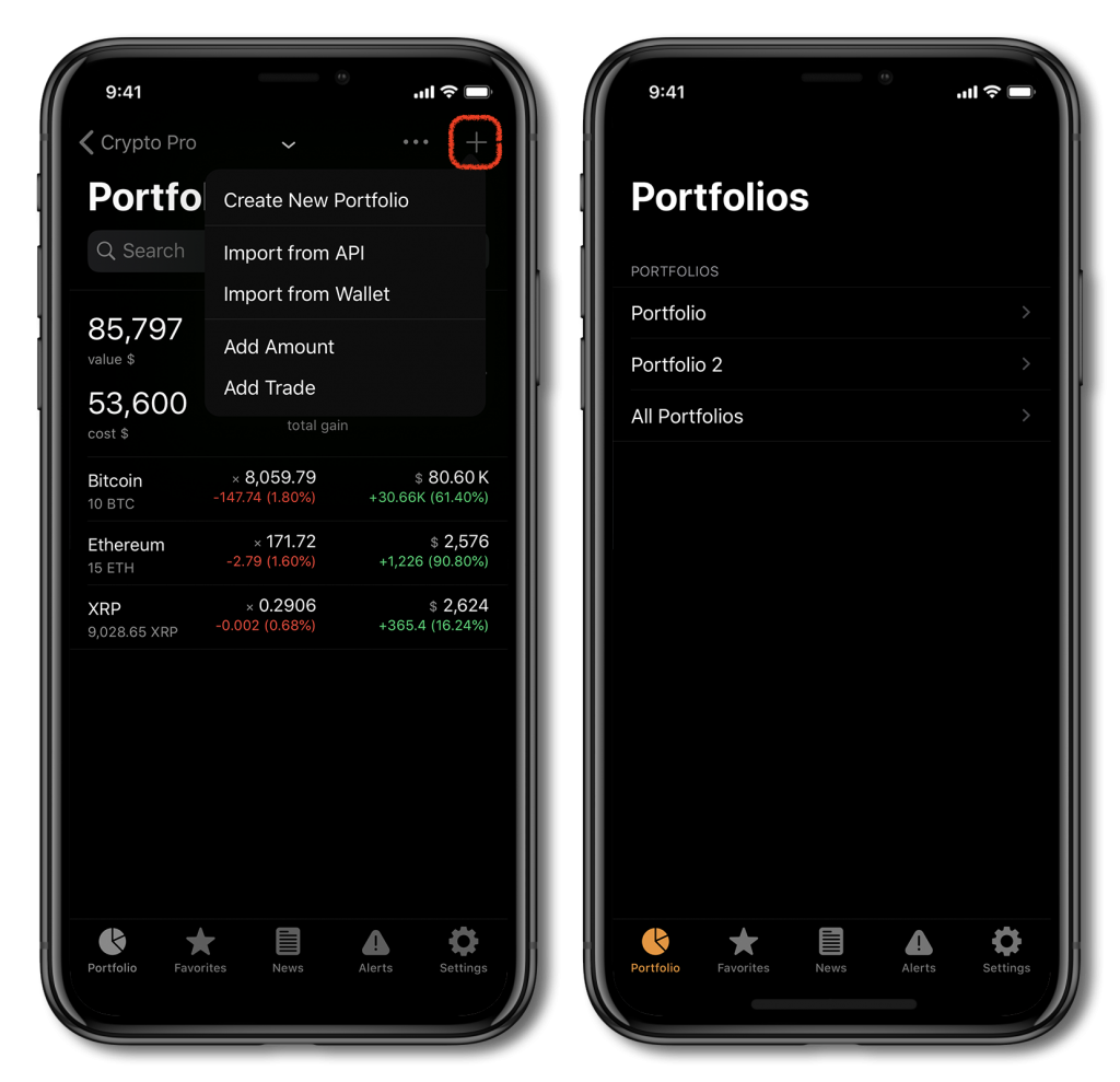 Screenshot of Crypto Pro, showing how to add coins to your portfolio