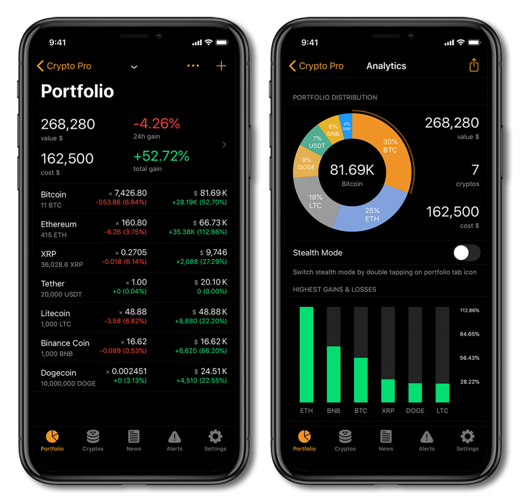 Crypto Pro Cryptocurrency portfolio tracker app