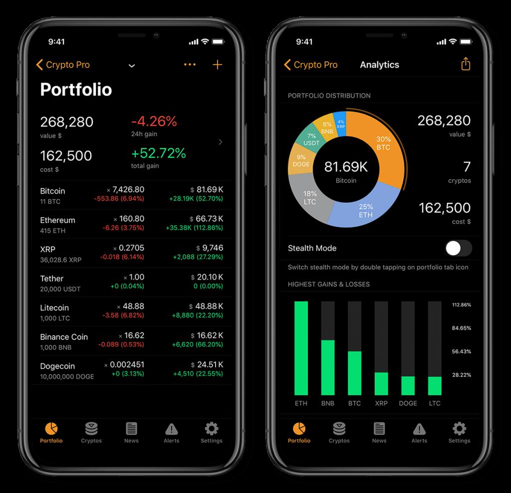 Crypto Pro Cryptocurrency portfolio tracker app