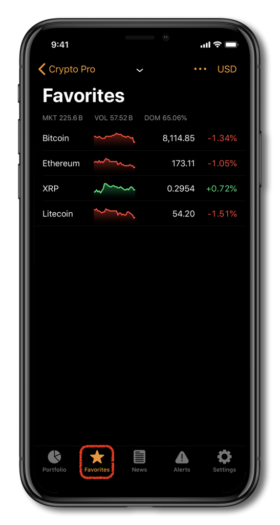 Screenshot of Crypto Pro, showing how to add coins to your favorite list