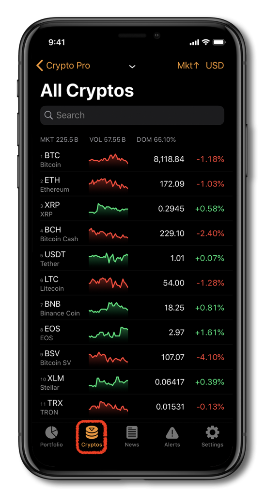 iPhone showing Crypto Pro's cryptocurrency portfolio tracker