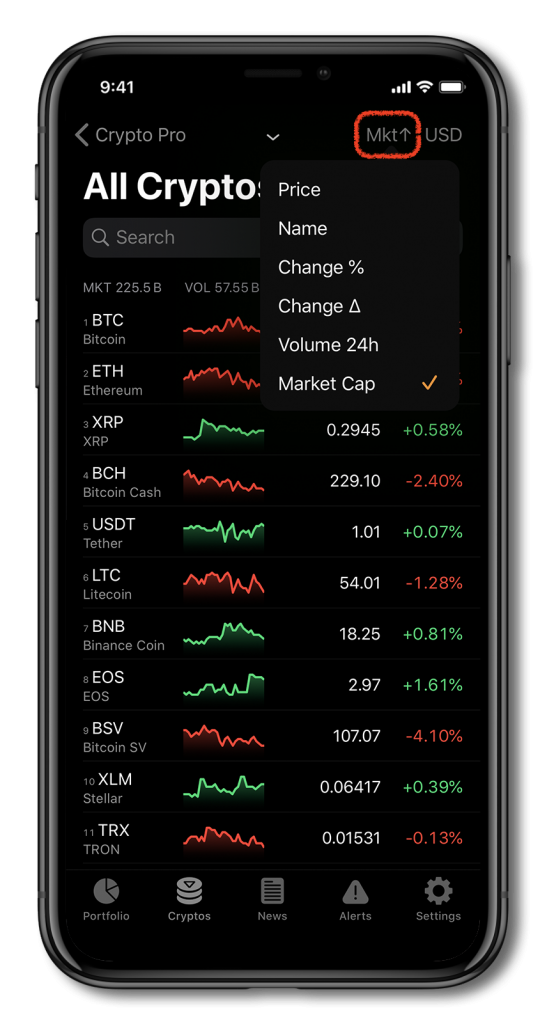 screenshot of crypto pro app showing cryptocurrency prices