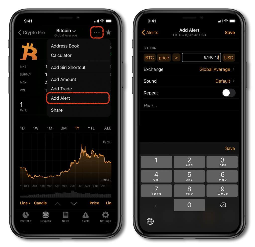 Screenshot of Crypto Pro, showing how to add a cryptocurrency alert