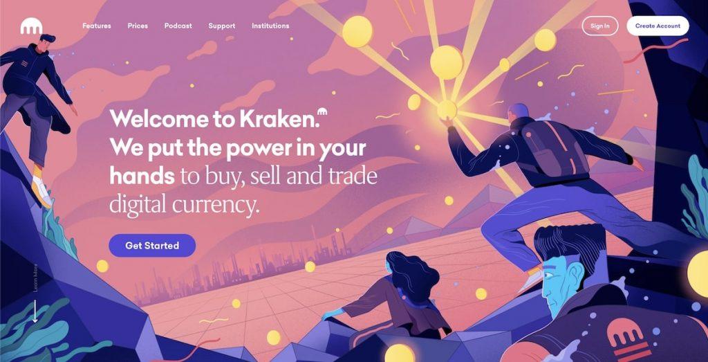 Screenshot of Kraken's Homepage.
