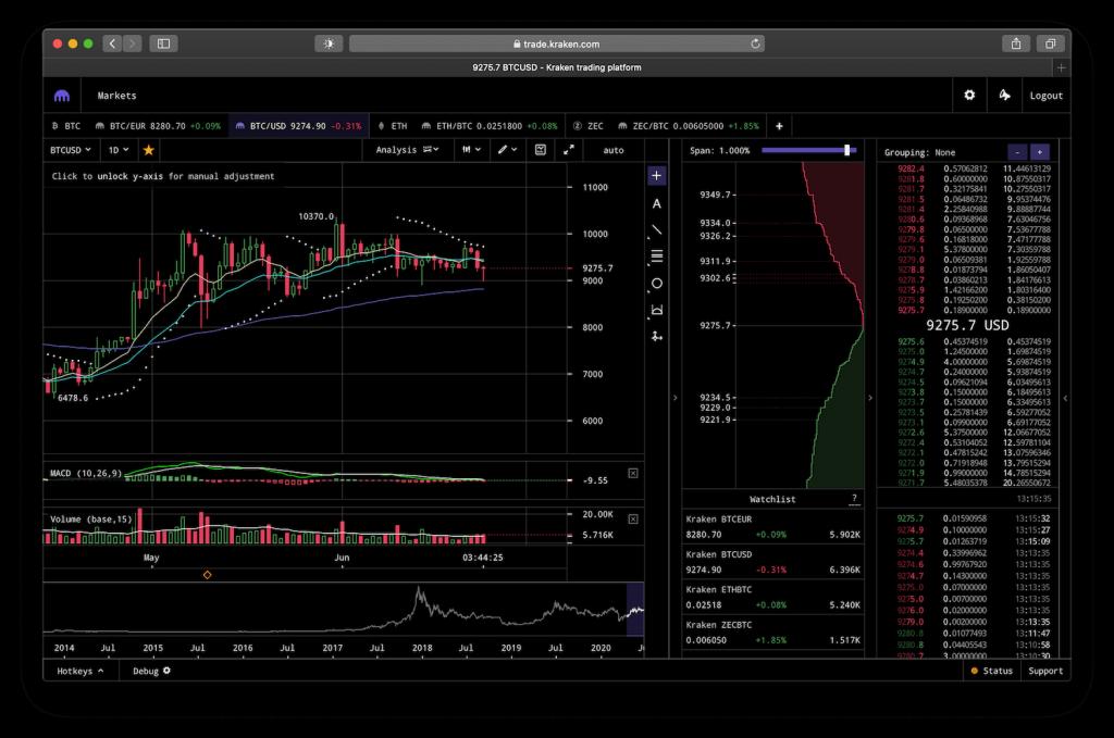 Screenshot showing Kraken Pro trading terminal