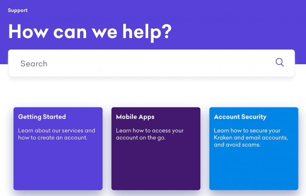 Screenshot showing Kraken's customer support options