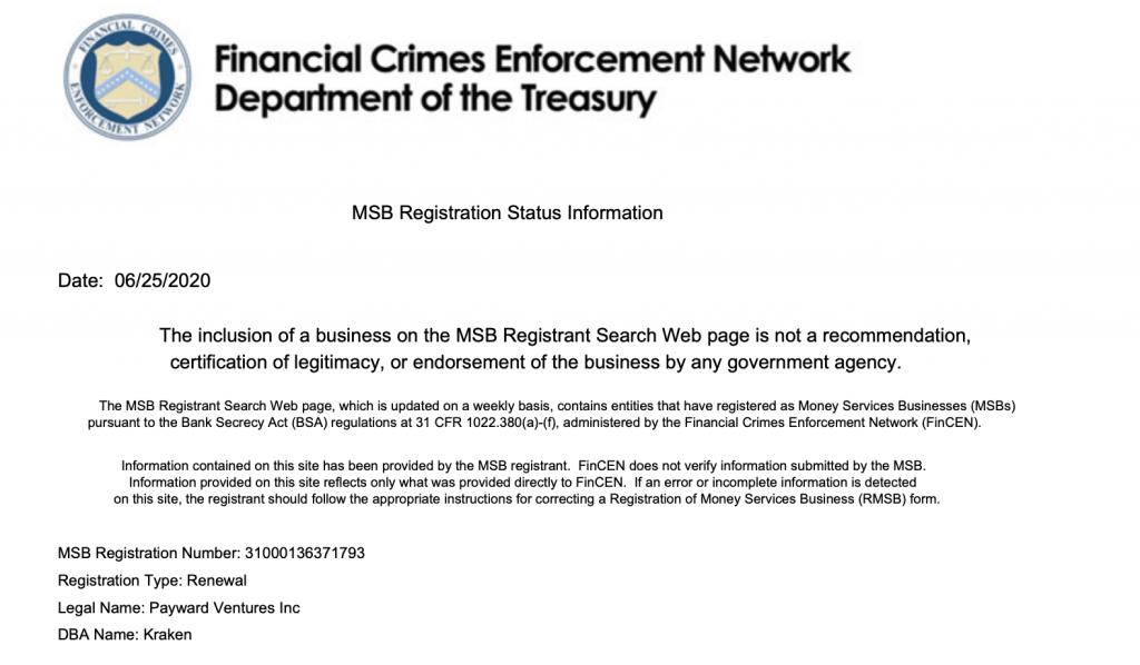 Kraken's Money Services Business licence