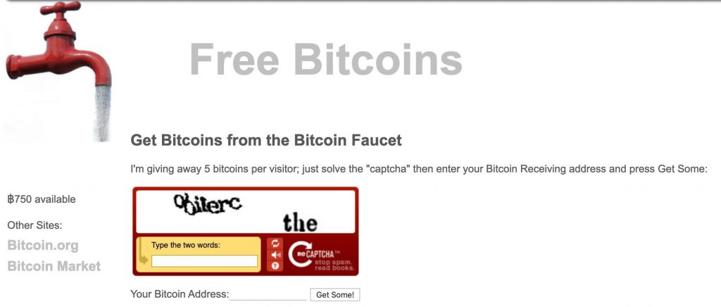 Screenshot showing the first ever Bitcoin faucet, giving out 5 btc per visitor