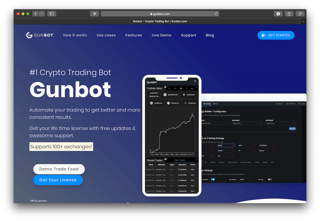 Screenshot of GunBot's website