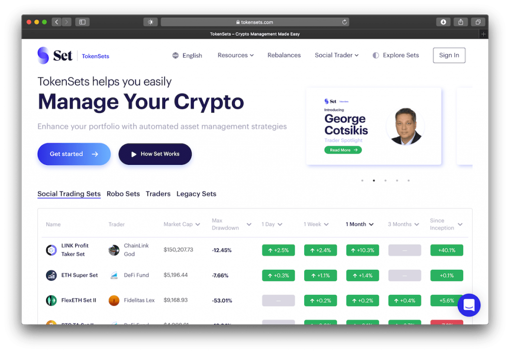 Screenshot of TokenSets's website