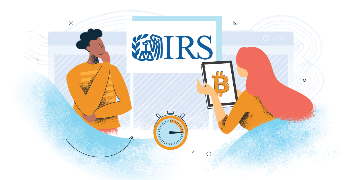 image showing two people thinking, one holding a device with Bitcoin logo on it, and the other looking at a poster with IRS logo