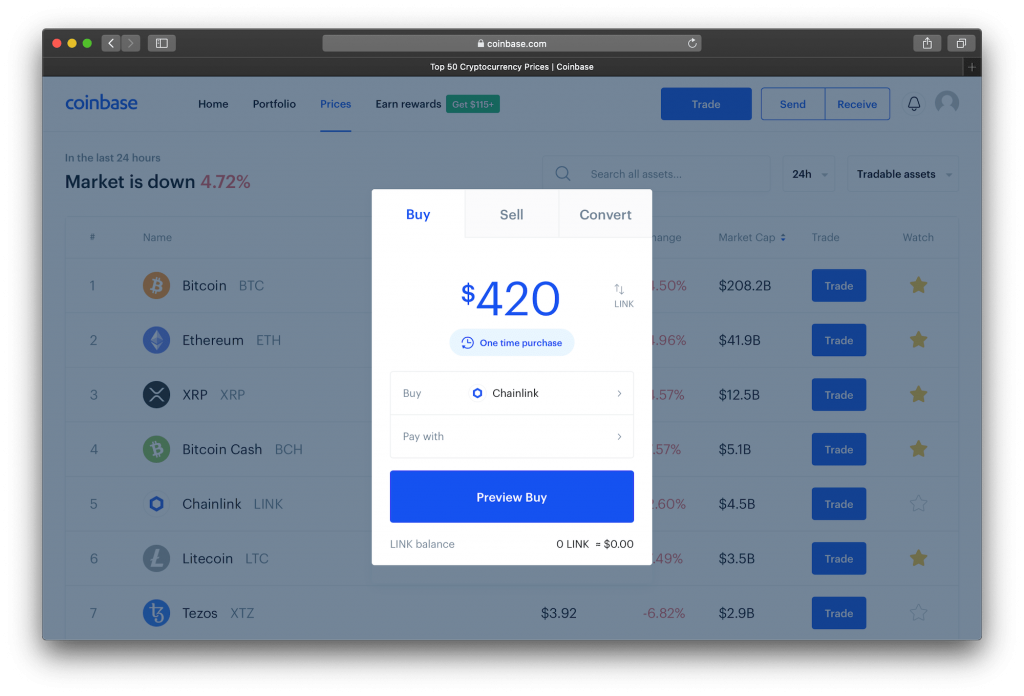 Coinbase exchange website showing purchase LINK screen