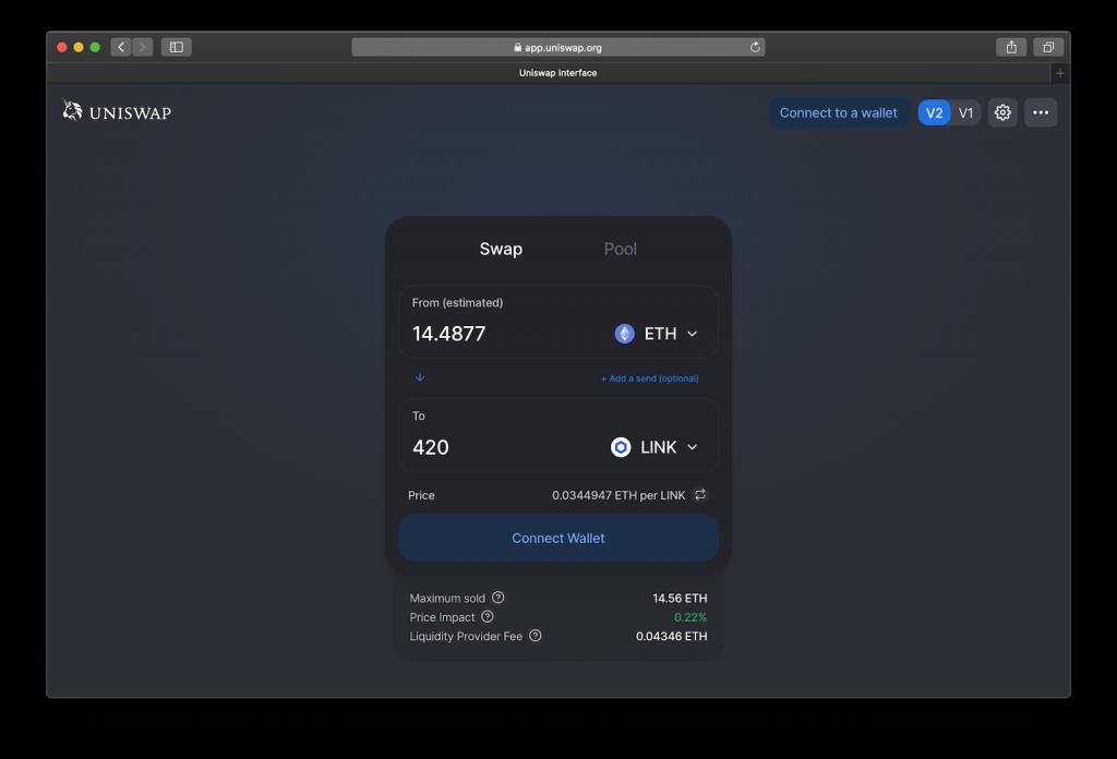 UniSwap trading platform