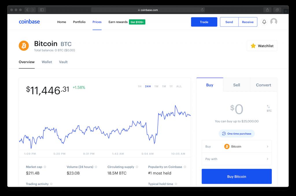 Site Web Coinbase.com montrant le prix du bitcoin