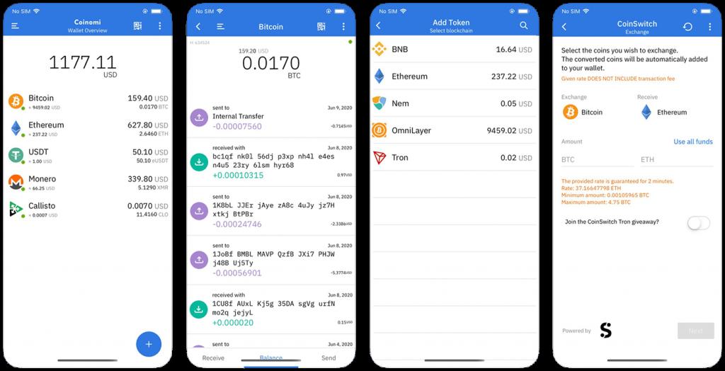 Coinomi Bitcoin wallet for iPad
