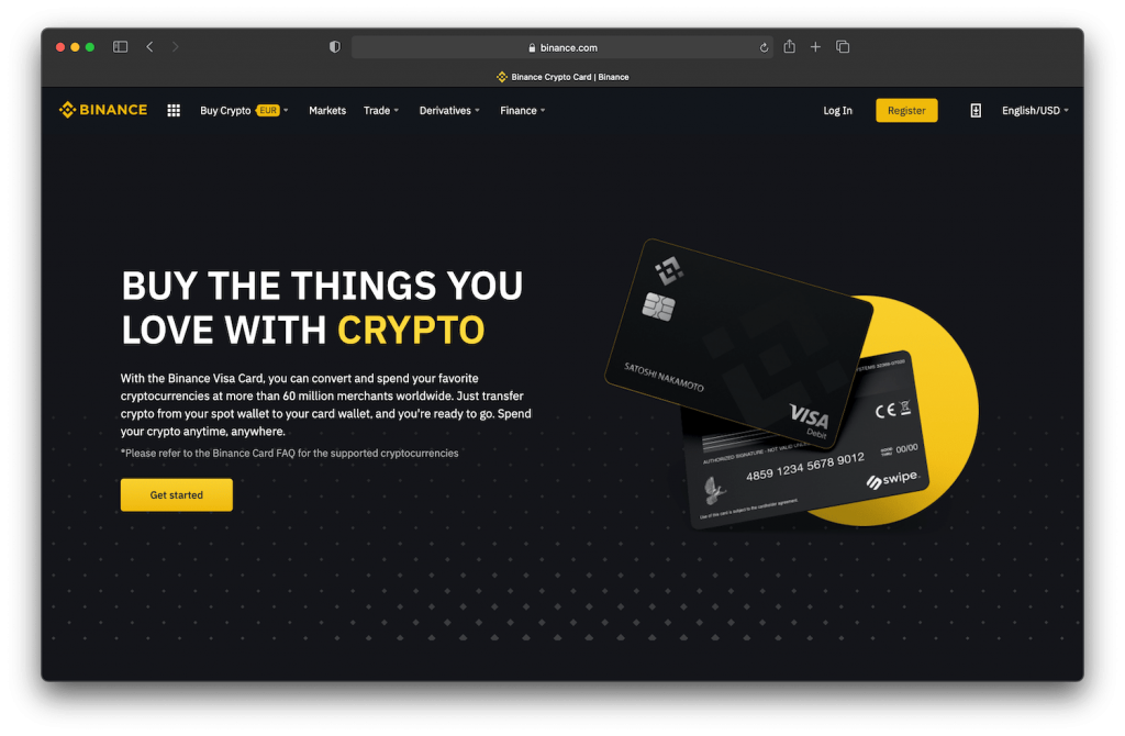 binance debit card homepage