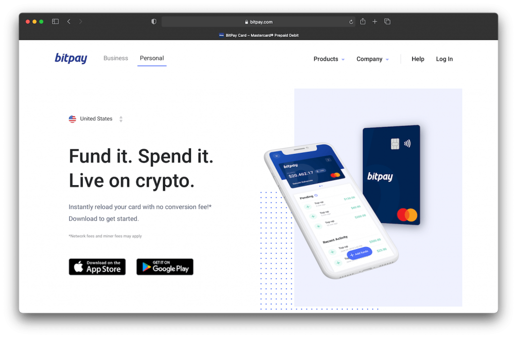 bitpay's website showing crypto debit card